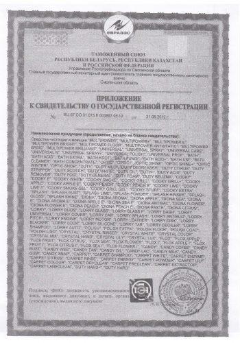 свидетельство о государственной регистрации чистящих и моющих средств стр. 2